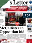 Belfast News Letter front page, 20 November 2012