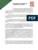 Declaraci—n Solidaridad UC s obre SINDICATO DE SALUD UC