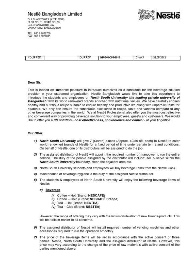 Offer Letter Beverage University Drink Nestl