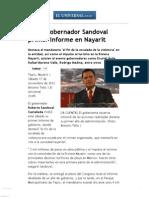 17-11-12 El Universal - Los Estados - Rinde Gobernador Sandoval Primer Informe en Nayarit