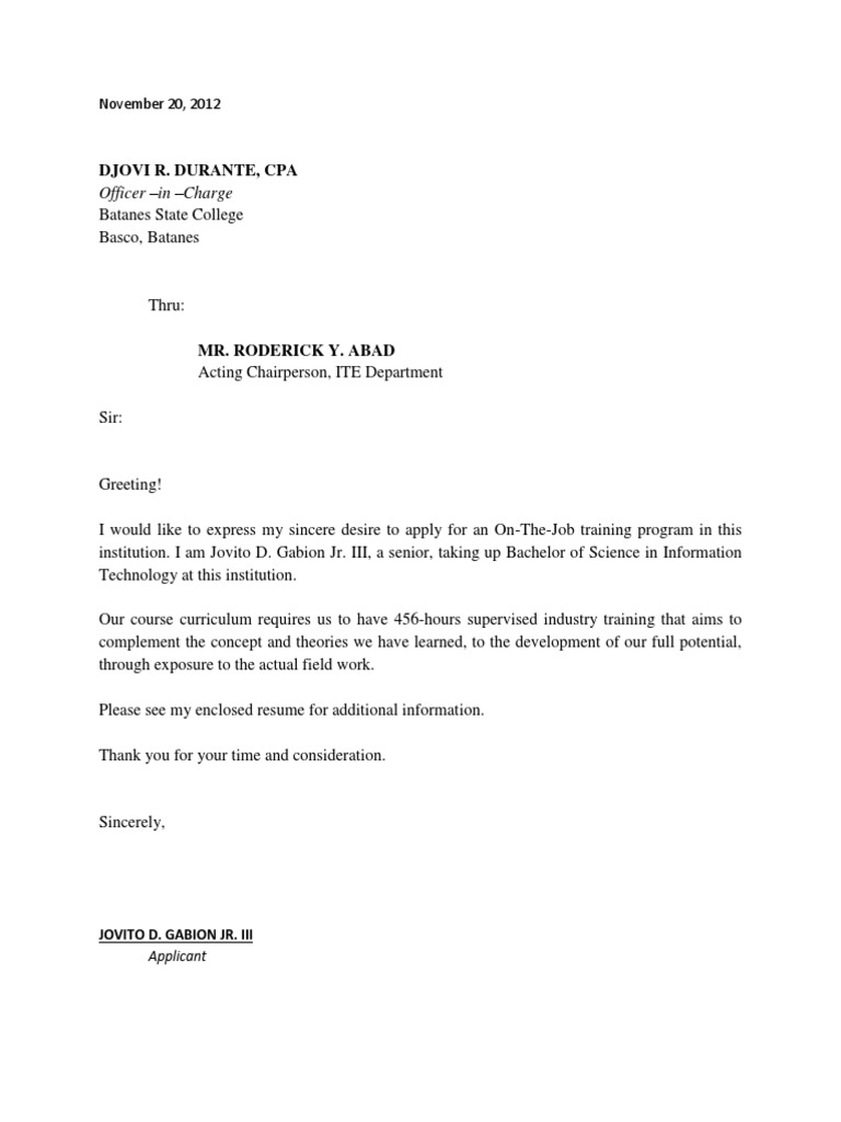 application letter for ojt students - Resume Letter Sample For Ojt
