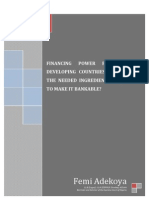 Paper on Financing Power Projects in Developing Countries What Are the Needed Ingredients Required to Make It Bankable