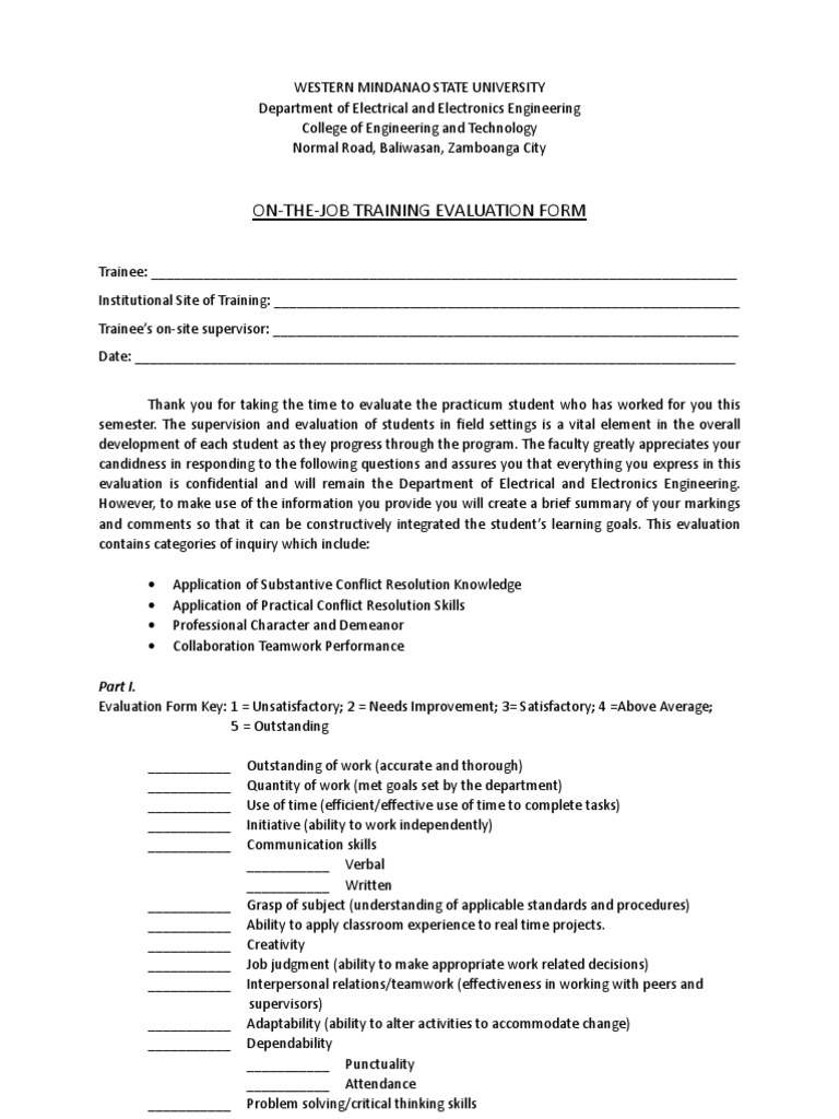 OJT Evaluation Form for Supervisor Evaluation – On the Job Training Evaluation Form