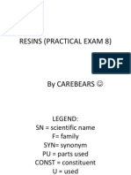 Resins (Practical Exam 8)