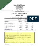 Legislative Revenue Office Forecast Summary