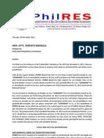 Nov 09 - PhilRES Letter to PRC re Nov 18 Election