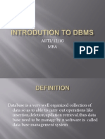 Introdution to Dbms