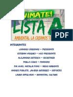 Lista A - Anímate, Ambiental la creamos todos