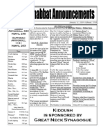 Shabbat Announcements, January 31, 2009