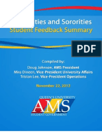 Feedback Summary, Nov. 22 Report on Fraternities and Sororities