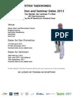 Dan Promotion and Seminar Dates 2013 21.11.12 At