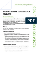 Writing Terms of Reference for Research