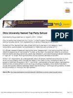 Ohio University Named Top Party School