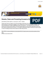 Parents, Peers and Preventing Excessive Drinking