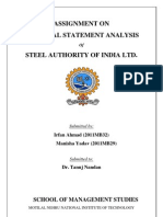 Accounts Project - Financial Statement Analysis of Steel Authority of India Limited - By Irfan Ahmad & Manisha Yadav