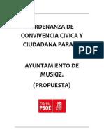 Ordenanza Convivencia Cívica y Ciudadana.