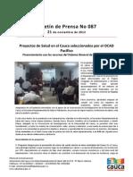 Boletín 087_Proyectos de Salud en el Cauca seleccionados por el OCAD Pacífico