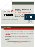Banque Palatine - OpinionWay - Observatoire de la performance des PME-ETI novembre 2012 - 21ème éd
