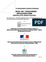 Fully Funded Scholarhsips Application Form Graduate Level 2012-2016