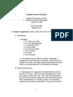 Criminal Forensic Psychiatry Outline