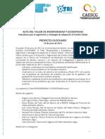 Acta del Taller Biodiversidad y Ecosistemas | Proyecto GLOCHARID | 18/06/2012