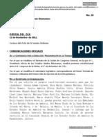 22/11/12 - Orden del día en la Cámara de Diputados