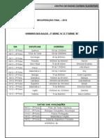 Conteudo + horário aulas - 1ª série