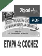 Calsificaciones Oficiales 4ta Etapa Vuelta a Chiriqui