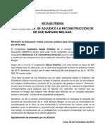 NP. MULTIOBRAS SA. se adjudicó la reconstrucción de GUE Mariano Melgar19112012