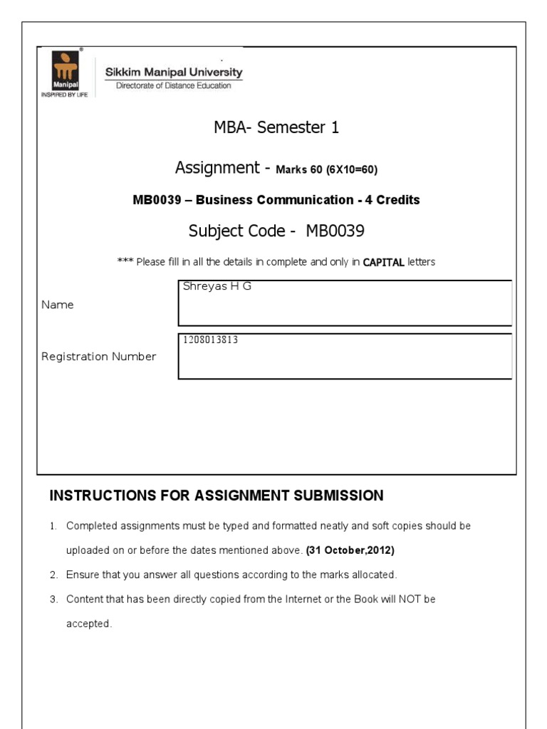 introduction to business communication assignment