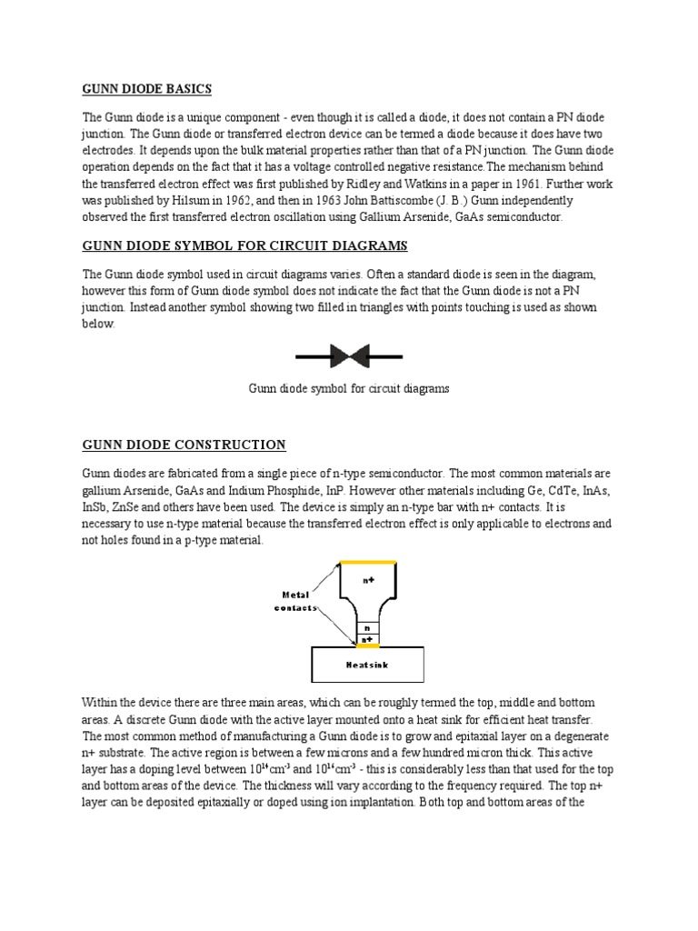 Gunn Diode Gallium Arsenide P N Junction Circuit Diagram