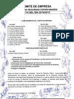 ACTA FIRMADA DE CONSTITUCION COMITÉ DE EMPRESA SECURITAS  MADRID