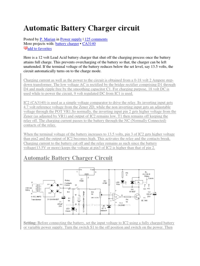 12 Battery Charger Circuit