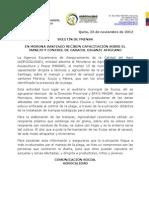 Boletin de prensa capacitación de caracol africano en Morona Santiago