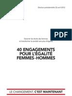40 engagements pour l'églité femmes-hommes