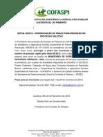 prorrogação da inscrição para o edital 08 -2012