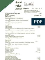 AÑO 2012 CARTA DE BEBIDAS-CAFÉ-BAR Y RESTAURANTE COMPLEJO RURAL LA VENTA