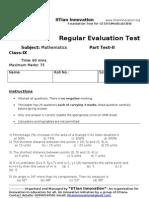 Regular Evaluation Test II Maths+Science IX B