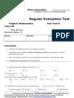 Regular Evaluation Test 2 Maths+Science VII A