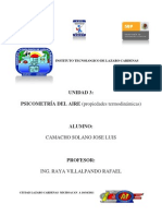 Psicometría de aire (propiedades termodinámicas).