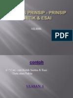 Menulis Prinsip - Prinsip Kritik & Esai