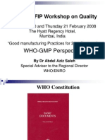 WHO GMP Workshop on Quality