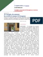 Decreto Scioglimento Consiglio Comunale Mongiana Vibonese Gazzetta 179 2 Agosto 2012