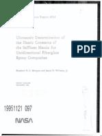 Ultrasonic determination of elastic constant of the stiffness matrix for unidirectional fiberglass epoxy composites