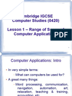 Range and Scope of Computer Applications