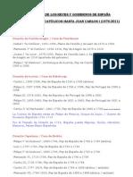 CRONOLOGÍA DE LOS REYES Y GOBIERNOS DE ESPAÑA (1474-2011)