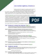 CID 10 - F00-F09 Transtornos mentais orgânicos, inclusive os sintomáticos