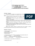 Academia Nationala de Informatii - Subiect Limba si Literatura Romana (2008)