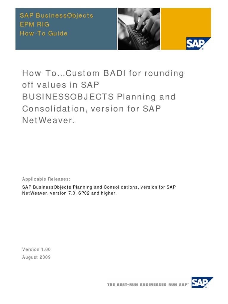 HTG-Custom BADI for Rounding Off Values in SAP BPC NW | Ibm Db2 ...