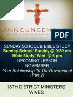 November 25, 2012 Announcements